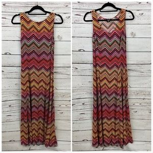 Vintage Lord & Taylor Maxi Dress Chevron Multi